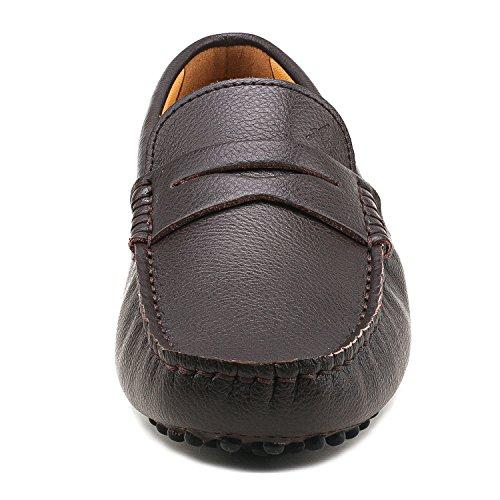 Hombre Cordones Zapatos de D7152 Suave Marrón Hombre Casuales para Mocasines Cómodos Cuero Shenduo sin d1qgwd