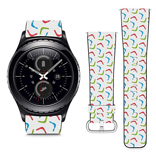 Compatible with Samsung Gear S2 Classic & Sport // 22mm Leather Replacement Bracelet Strap Wristband with Quick Release Pins // Colorful Boomerangs ()