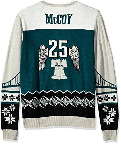 FOCO KLEW NFL Philadelphia Eagles LeSean McCoy #25 Ugly Sweater, Medium, - Mccoy Lesean Green