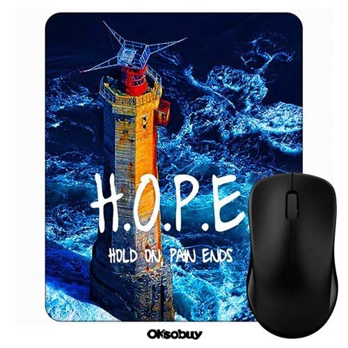 Blue Lighthouse Hope Hold On Pain Ends Mouse Pad Oksobuy Custom Design,European City Landscape Mouse pad Gaming Mousepad Nonslip Rubber Backing