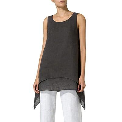 wyxhkj Camisola Mujer, Camisetas Mujer Sin Mangas Lino Verano Camisetas Mujer Tallas Grandes O-Cuello Color Sólido Blusas para Mujer Verano Asimétrico Ocasional para Mujer: Ropa y accesorios