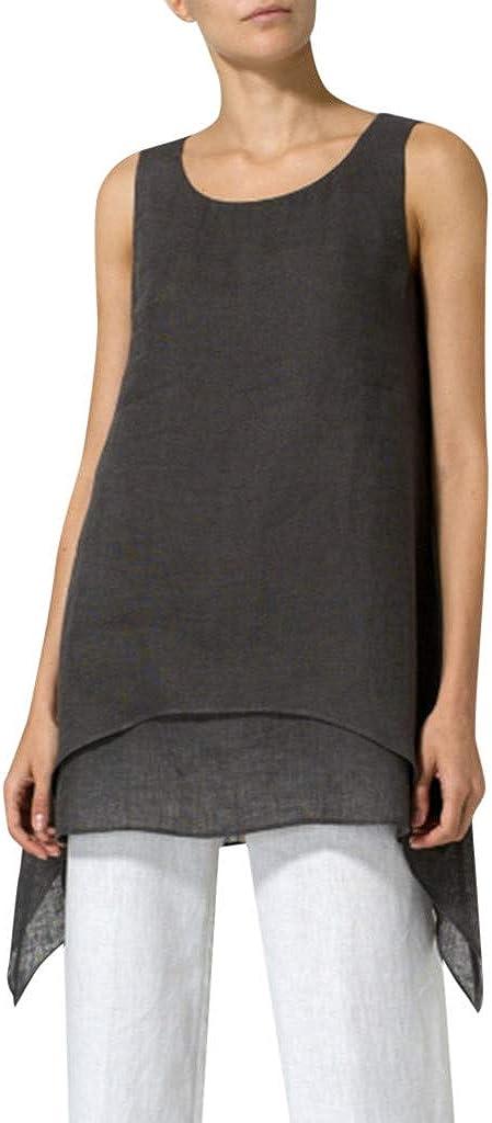 Leey Camicia Donna Elegante Magliette Donna Canotta Girocollo Top Irregolare Grembo Canottiere Senza Maniche Estate Camicetta T-Shirt
