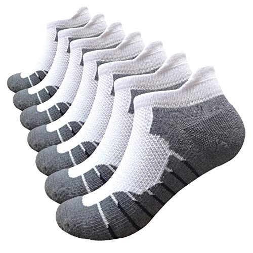 Men's Low Cut Running Sock Cotton 7 Pack No Show Athletic Cushion Socks (A3-Grey White 7 Pairs,XXL)