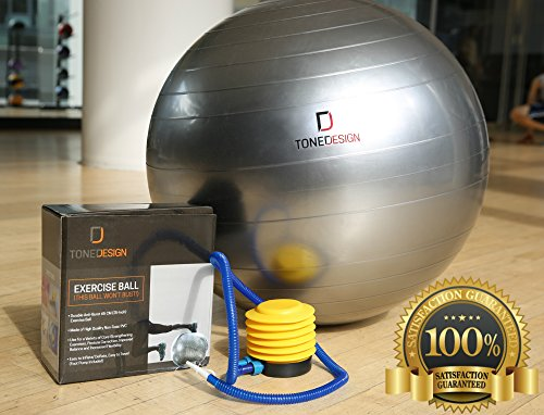 Fitness Stability Ball 65cm w/ Pump by TONEDESIGN For Core Exercises, Stretching, Yoga, Flexibility & Balance, Use as Chair For Better Posture, Portable, Anti-Burst, Easy Inflate, TONE YOUR BODY NOW!