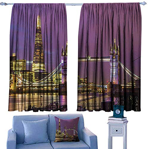 Mannwarehouse London Simple Curtain Tower Bridge in London at Night Historical Cultur Monument Europe British Urban Darkening and Thermal Insulating 55