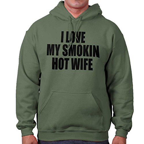 I Love My Smoking Hot Wife Sexy Husband Mother Cute Hoodie Sweatshirt by Brisco Brands (Image #1)