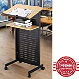 Standing Desk for Classroom Portable Podium Stand Office Book Table Teacher Lecture Metal Rolling Podium & E book By Easy2Find