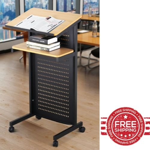 Standing Desk for Classroom Portable Podium Stand Office Book Table Teacher Lecture Metal Rolling Podium & E book By Easy2Find by STS SUPPLIES LTD