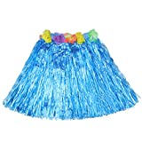 Luau Beach Party Halloween Costume Party Hawaiian Dance Hula Skirt Grass Skirt, Blue(pack of 3)