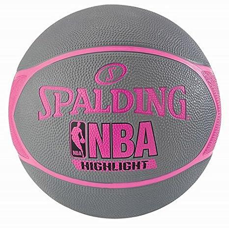 Spalding NBA Highlight Ballon de Basket Femme Gris/Rose Fuchsia 6.0 SPAA3 #Spalding 3001550029816