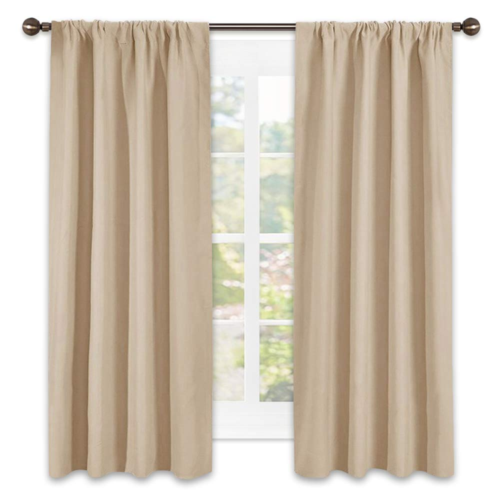 NICETOWN Room Darkening Curtains for Bedroom - Triple Weave Home Decoration Thermal Insulated Solid Window Drapes (Set of 2 Panels,42 x 63 Inch,Biscotti Beige)