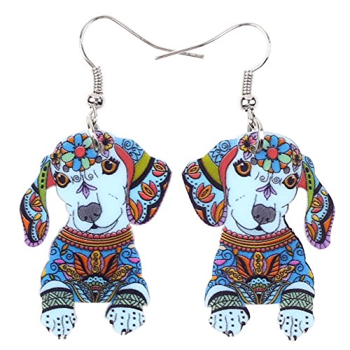 Acrylic Drop Dachshund Dog Earrings Funny Design Lovely Gift For Girl Women By The Bonsny (Blue)