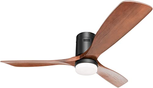 Hakkatronics 52 Flush Mount Modern Ceiling Fans with Lights and Wireless Remote Control, 6 Fan Speed Elegant Solid Wood Blades, Damp Rated Outdoor Indoor Ceiling Fan with Rod Mount Matt Black