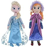 "Official Disney Frozen 10"" 26cm Plush Rag Doll Soft Toy Set - Anna & Elsa"
