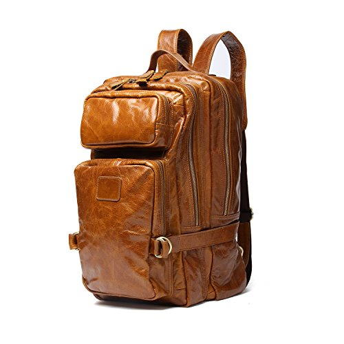 Joyir Vintage Genuine Crazy Horse Leather Backpack Multi Pockets Travel Sports bag (Brown Color) by JOYIR