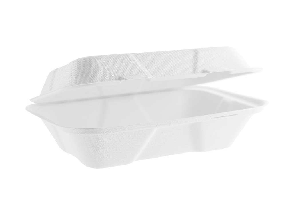 Vegware VA-SH89 large bagasse clamshell 9 x 6 Pack of 200