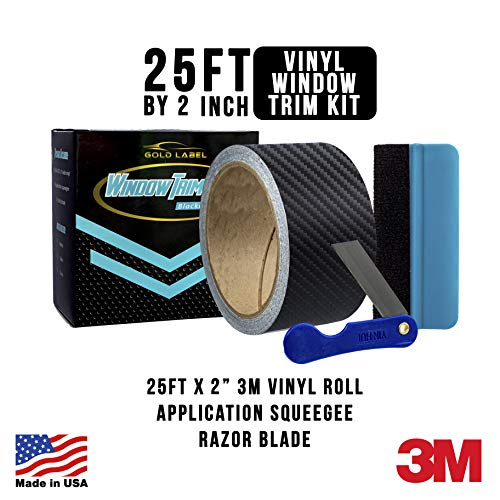 Gold Label Detailing 3M Black Out Trim Chrome Delete Vinyl Wrap Kit | 25ft Roll of 3m Scotchprint 1080 | Felt Edge Squeegee and Razor Blade Included (Carbon Fiber, 2