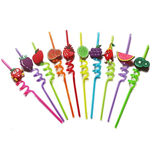 Party Supplies,Funny Crazy Spiral Straws with Cute Charms, Fruit Drinking Straw,Reusable straws for kids, Assorted Colors, Pack of 10