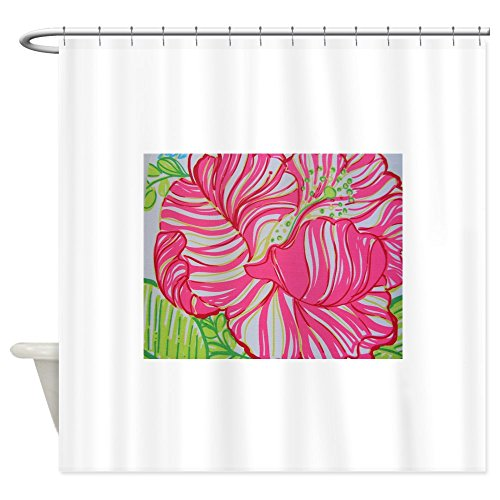CafePress Hibiscus in Lilly Pulitzer Decorative Fabric Shower Curtain (69