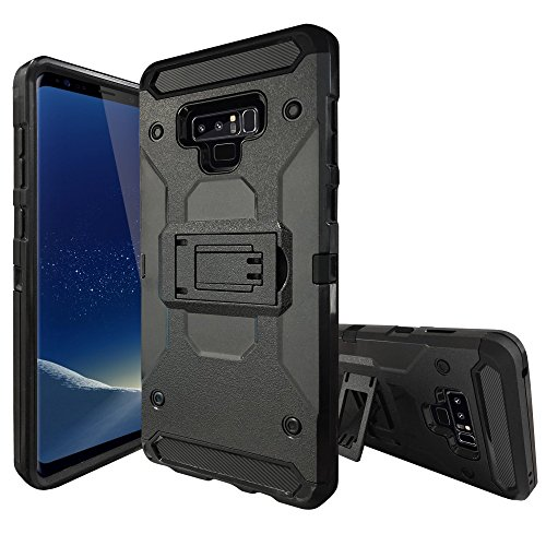 MINITURTLE MAX Guard Case Compatible with Samsung Galaxy Note 9 (2018) [Carbon-Fiber Accents] [Triple Defense Layers] High Impact Silicone Interior + Hard Shell Cover [Black]