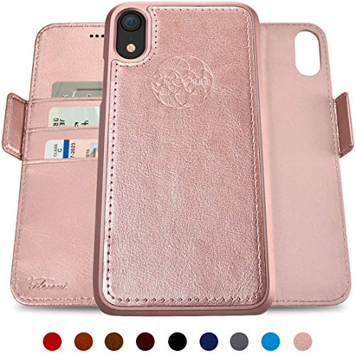 Rose Leather - Dreem Fibonacci 2-in-1 Wallet-Case for iPhone XR Magnetic Detachable Shock-Proof TPU Slim-Case, Wireless Charge, RFID Protection, 2-Way Stand, Luxury Vegan Leather, Gift-Box - Rose-Gold