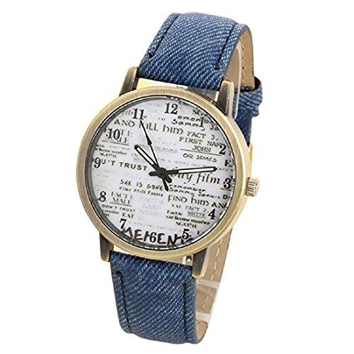 Hemlock Fashion Men's Casual Alphabet Watches Denim Cloth Band Quartz Wrist Watches Blue (Denim Band Watch)