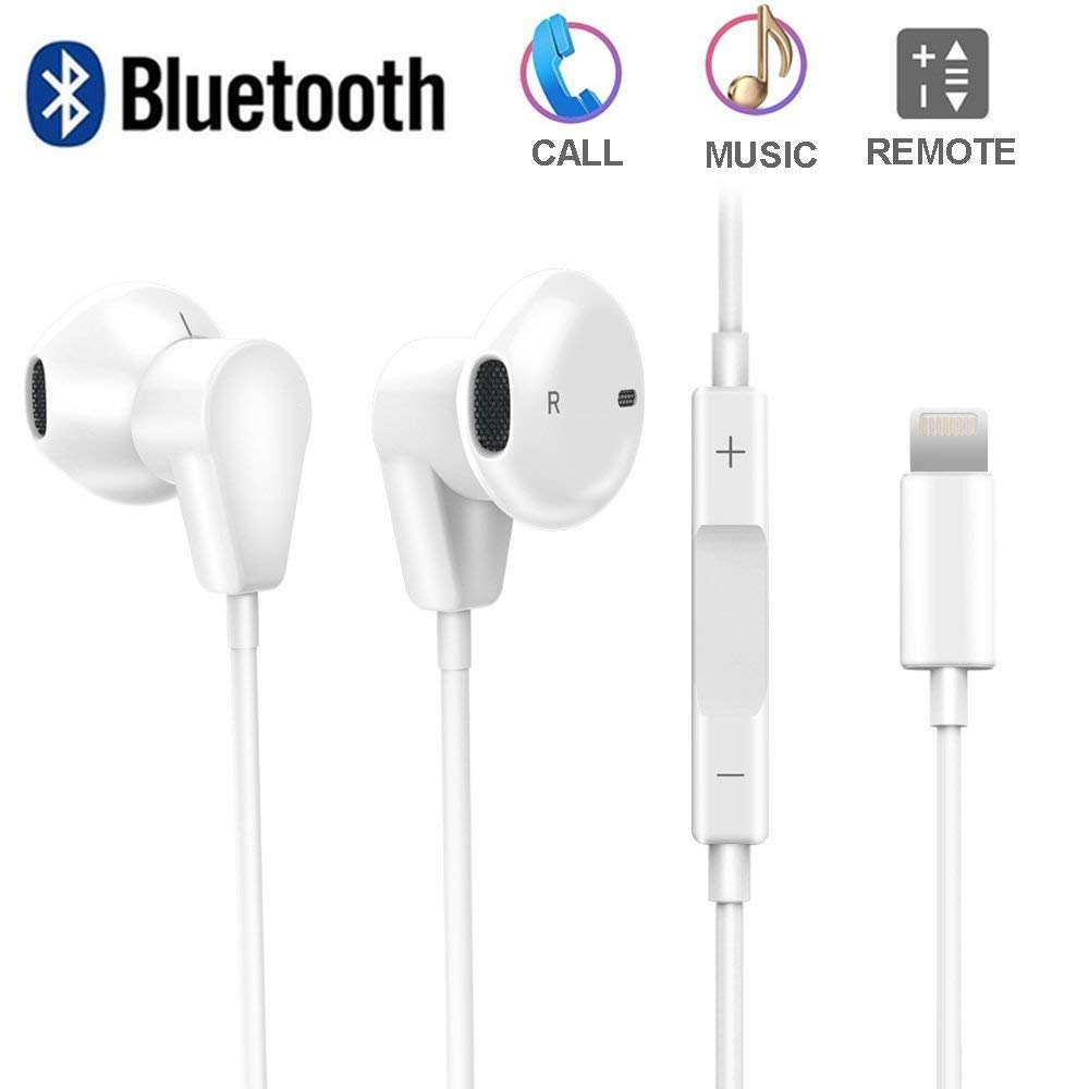 AXELECT Bluetooth Headphones with Mic, Stereo Earphones Compatible for iPhone X XR XS 8/8Plus 7/7Plus, Noise Cancelling Headse, White (Renewed)