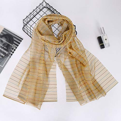 Utini Women Striped Lurex Scarf Shiny Gold Yarn Muslim Hijab Shawl Head Scarf Party Wedding Hijabs Tudung Light Weight Scarves190x80cm - (Color: 5 Camel) ()