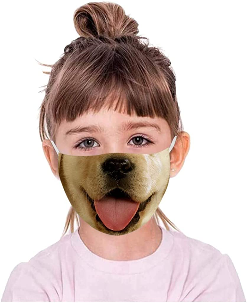 Kids Face Coverings Washable,Lomelomme Half Face Bandanas Reusable Washable Face Coverings M-Shaped Nose Clip Face Towel 3D Print Breathable Dust Mouth Cover for Workout Sports Party