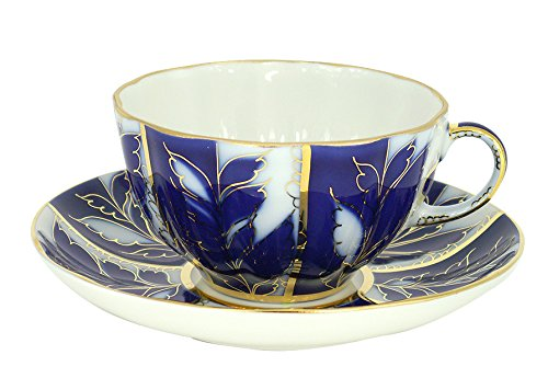 Lomonosov Porcelain Tea Cup and Saucer Set Winter Night 2pc