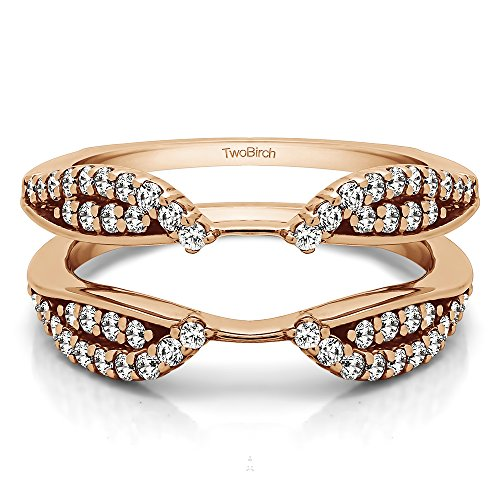 TwoBirch 0.56 ct. Cubic Zirconia Cathedral Infinity Ring Guard Enhancer in Rose Gold Plated Sterling Silver (1/2 ct. ()
