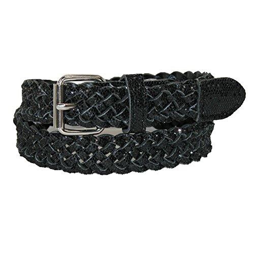 Metallic Braided Woven Belt - CTM Girls' Metallic Braided Belt, Medium, Black