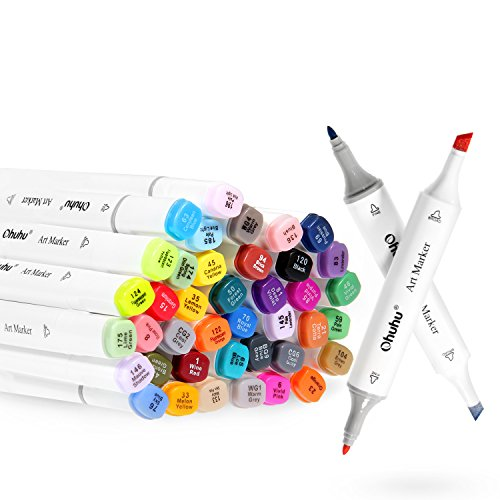 Ohuhu 80 Colors Dual Tips Permanent Marker Pens Art Markers Highlighters with Carrying Case for Drawing Sketching Adult Coloring Highlighting and Underlining (Marker Permanent Dry Erase)
