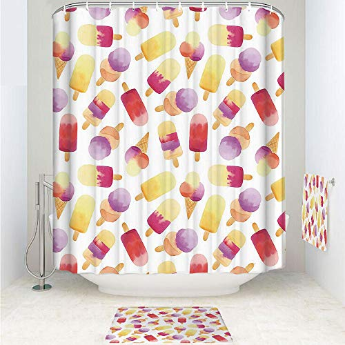 Clev Slip Hook - iPrint Polyester Fabric Bathroom Shower Curtain Set with Hooks,Cream Figures with Cones in Pastel Toned,3pcs Set with Shower Curtain Bath Towel Non-Slip mat for Home Decor Bathroom