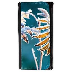 le portefeuille de grands luxe femmes avec beaucoup de compartiments // F00002393 Heladas decoración de la hoja hojas // Large Size Wallet
