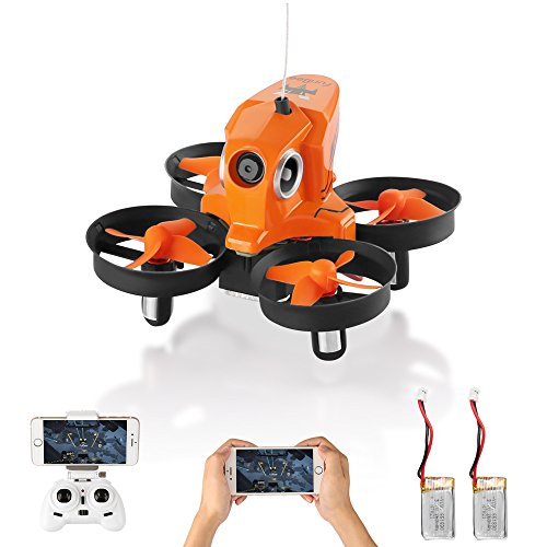 Mini Drone with Camera Live Video, H801 720P Wifi FPV RC Quadcopter Drone RTF with Altitude Hold, One Key Return for Kids, Beginners, Adults (2 Batteries Orange)