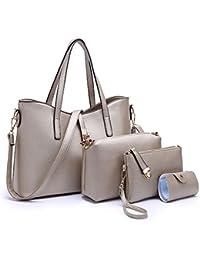 Women Fashion PU Leather Handbag+Shoulder Bag+Purse+Card Holder 4pcs Set Tote Handbag