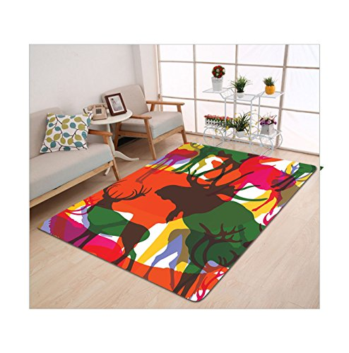 Killer Sheep Costume (Kisscase Custom carpet Antlers Decor Collection Deer Moose And Mountain Sheep Horned Animals Abstract Illustration)