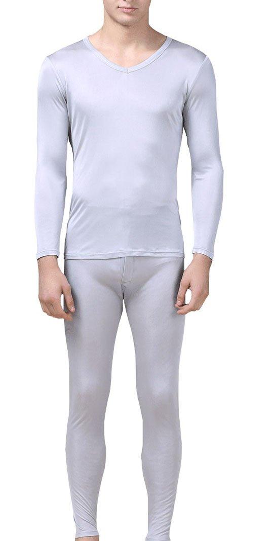 Fashion Silk Men's Thermal Underwear Sets Mulberry Silk V-neck Long John for men base layer (M, Silver Gray)