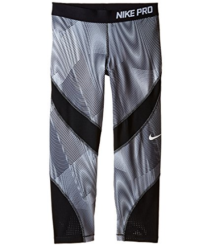 Nike Kids Pro Hypercool Printed Training Capri Little Kids/Big Kids Dark Grey/Black/Black/White Girl's Capri