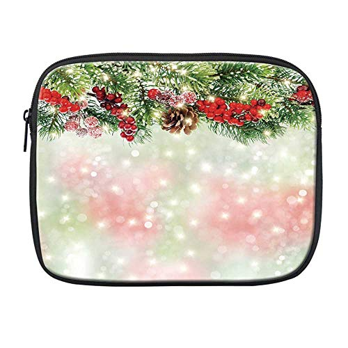 Christmas Compatible with Nice iPad Bag,Evergreen Fir Branches with Red Ripe Holly Berries Blurred Backdrop Garland Decorative for Office,One Size