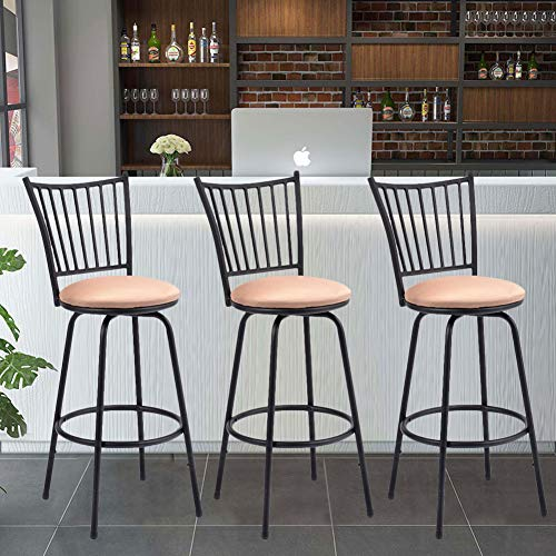 Barstool, WATERJOY Set of 3 Modern Swivel Bar Stool Counter Height Chair Bistro Pub Breakfast Kitchen Stools Chair (42 Height Bar Stool Bar For Inch)