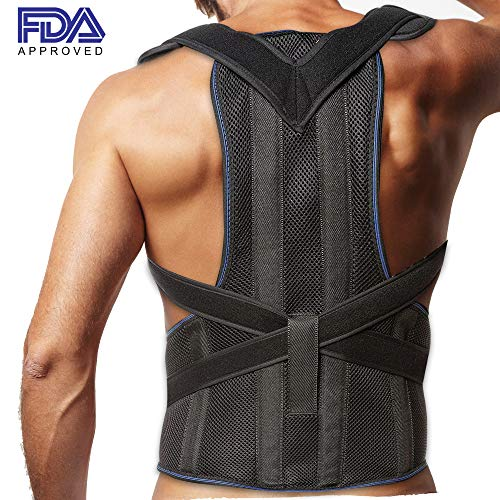 avicle and Lower Back Support - Deluxe, Comfortable Back and Shoulder Brace for Men and Women - Medical Device to Improve Bad Posture, Spine Posture, Hunchback, Aches and Pain ()