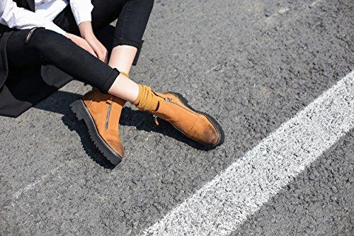 hexiajia Damen Stiefel Lederfarben