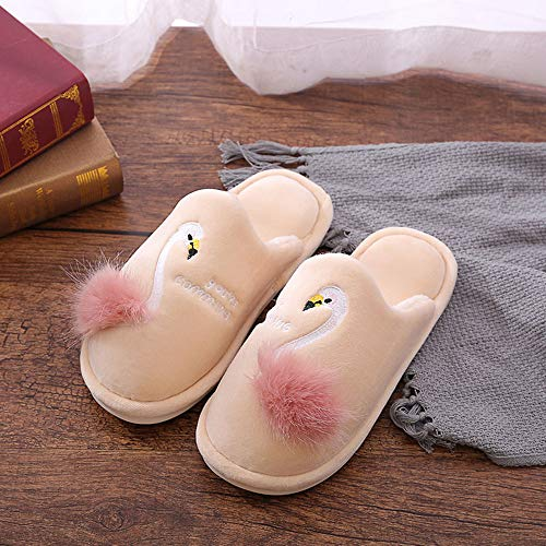 Terciopelo Pleasant Por Place Casa Mujer Para Beige Estar De Zapatillas SfqYS