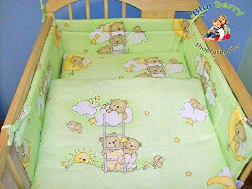 "BlueberryShop BABY TODDLER JUNIOR BED COT BUMPER 35cm x 150cm (13.8"" x 59"") ( 0-2Yrs ) ( 150 x 35 cm ) Green Bear"