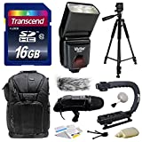 Ultimate Accessories Bundle Kit includes Transcend 16GB Class 10 SD Memory Card + Vivitar DF-293 DF293 Shoe Mount Auto Focus Bounce Zoom DSLR Digital Camera Swivel Flash for Sony (VIVDF293S) + 60'' Inch Photo/Video Tripod + DSLR Bag Case Sling Travel Acces