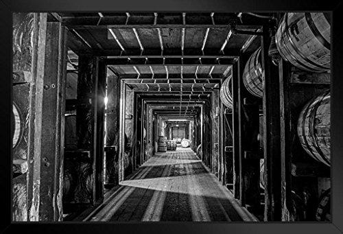 Barrels and Barrels Kentucky Bourbon Being Aged Photo Art Print Black Wood Framed Poster 20x14