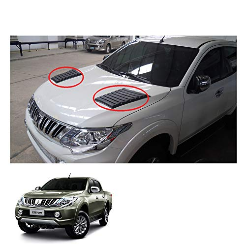 Powerwarauto Lh Rh Side Vent Bonnet Hood Scoop Cover for Mitsubishi L200 Triton Medium Matte Black