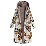 Emoji Outfits for Sale XOWRTE Women's Floral Print Coat Vintage Oversize Jacket Hooded Pockets Winter Warm Overcoat Outwear